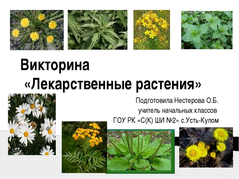 Викторина «Лекарственные растения» Подготовила Нестерова О.Б. учитель начальн...