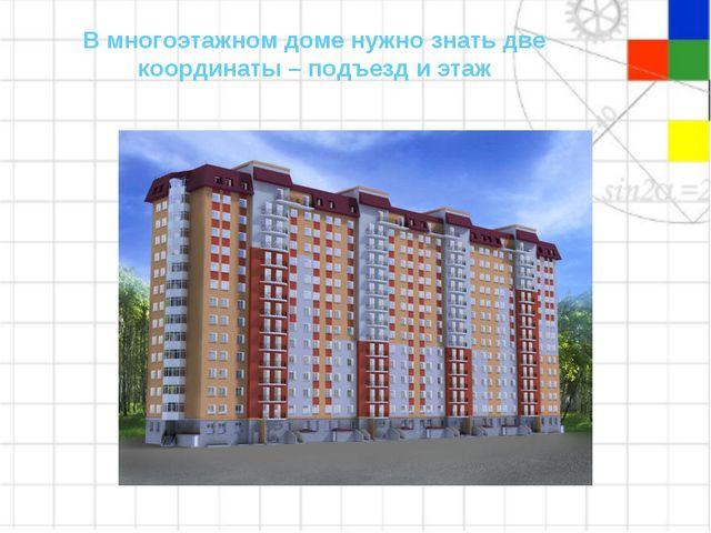 В многоэтажном доме нужно знать две координаты – подъезд и этаж