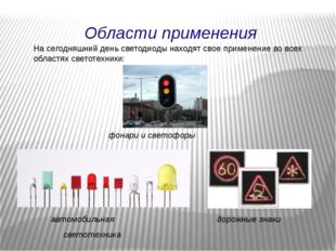 Области применения На сегодняшний день светодиоды находят свое применение во