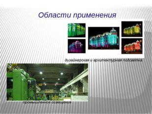 дизайнерская и архитектурная подсветка промышленное освещение Области примене
