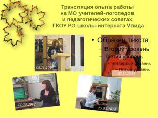 Трансляция опыта работы на МО учителей-логопедов и педагогических советах ГКО