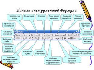 Панель инструментов Формула Пробелы и многоточия Надстрочные знаки Символы от