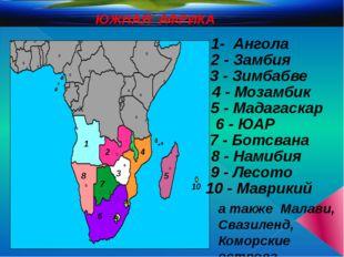 ЮЖНАЯ АФРИКА 1- Ангола 2 - Замбия 1 2 3 - Зимбабве 3 4 4 - Мозамбик 5 - Мада