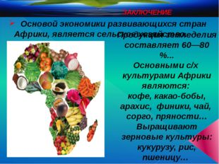 ЗАКЛЮЧЕНИЕ Основой экономики развивающихся стран Африки, является сельское х