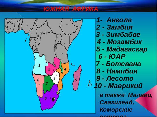 ЮЖНАЯ АФРИКА 1- Ангола 2 - Замбия 1 2 3 - Зимбабве 3 4 4 - Мозамбик 5 - Мада...