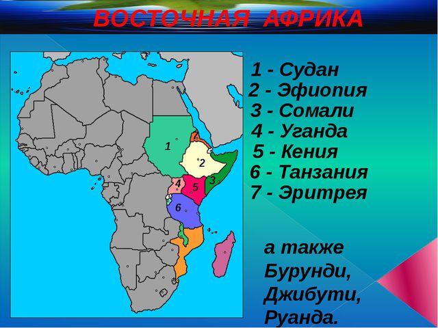 ВОСТОЧНАЯ АФРИКА 1 2 3 4 5 6 1 - Судан 2 - Эфиопия 3 - Сомали 5 - Кения 4 - У...