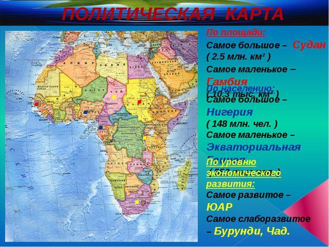 ПОЛИТИЧЕСКАЯ КАРТА По площади: Самое большое – Судан ( 2.5 млн. км² ) Самое м...