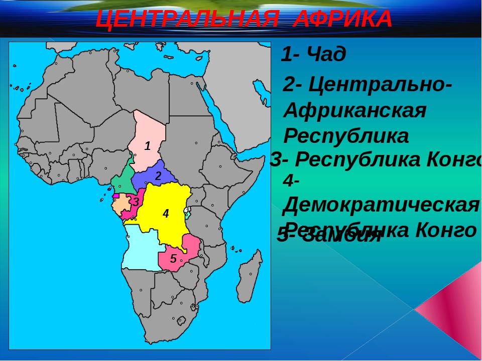 ЦЕНТРАЛЬНАЯ АФРИКА 1 2 3 4 5 2- Центрально-Африканская Республика 3- Республи...