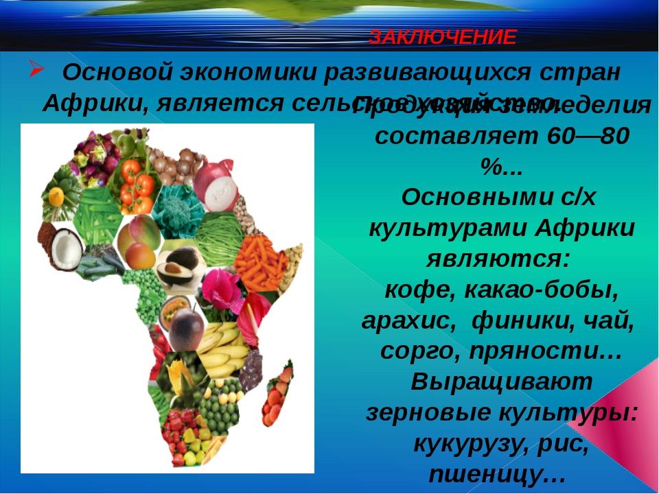 ЗАКЛЮЧЕНИЕ Основой экономики развивающихся стран Африки, является сельское х...