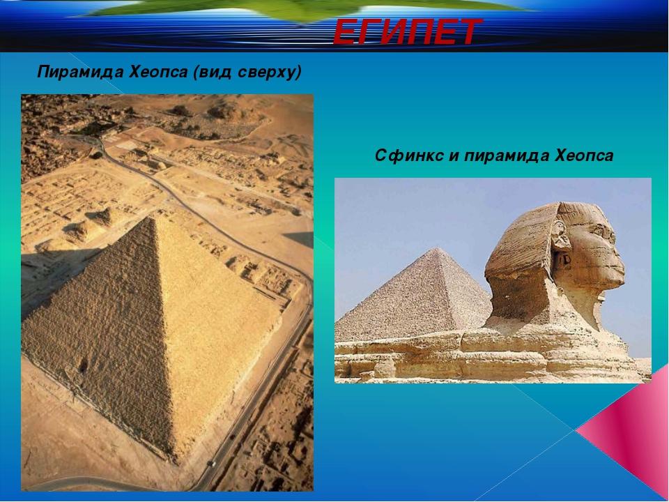ЕГИПЕТ Пирамида Хеопса (вид сверху) Сфинкс и пирамида Хеопса