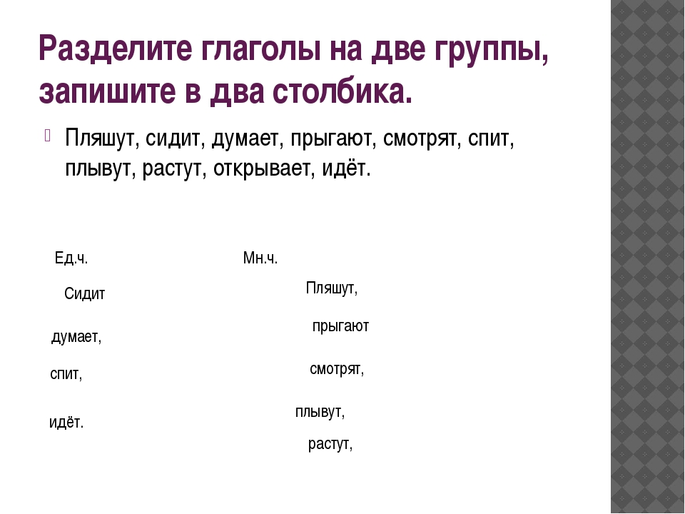 Разделите глаголы на две группы, запишите в два столбика. Пляшут, сидит, дума...