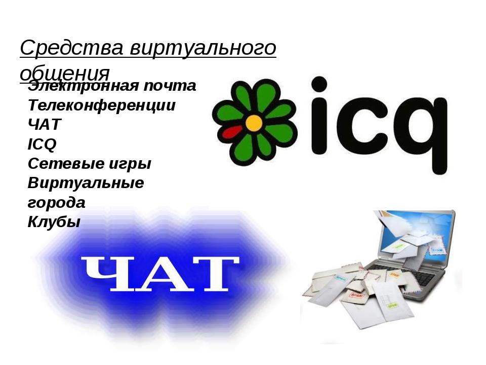 Средства виртуального общения Электронная почта Телеконференции ЧАТ ICQ Сетев...