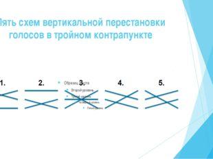 Пять схем вертикальной перестановки голосов в тройном контрапункте