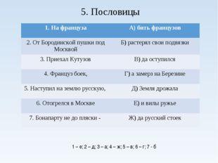 5. Пословицы 1 – е; 2 – д; 3 – а; 4 – ж; 5 – в; 6 – г; 7 - б 1. На французаА