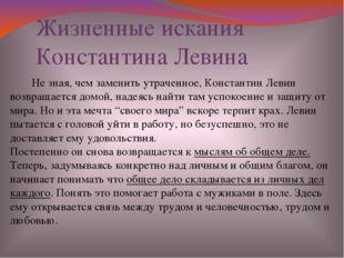 Не зная, чем заменить утраченное, Константин Левин возвращается домой, надея