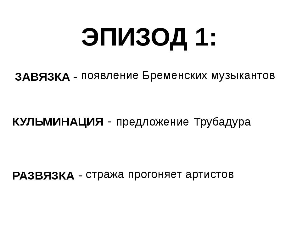 ЭПИЗОД 1: ЗАВЯЗКА - КУЛЬМИНАЦИЯ - РАЗВЯЗКА - появление Бременских музыкантов...