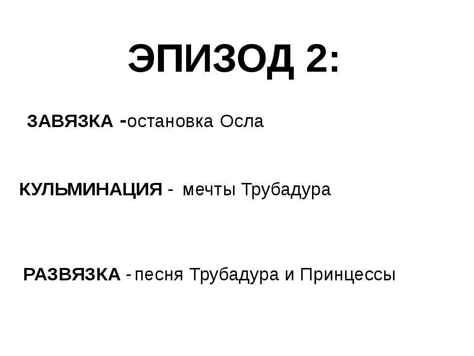 ЭПИЗОД 2: ЗАВЯЗКА - КУЛЬМИНАЦИЯ - РАЗВЯЗКА - остановка Осла мечты Трубадура п...