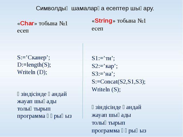 «Char» тобына №2 есеп S:='Конфигурация'; S:=Copy(S,4,6); Writeln (S);  Эк...