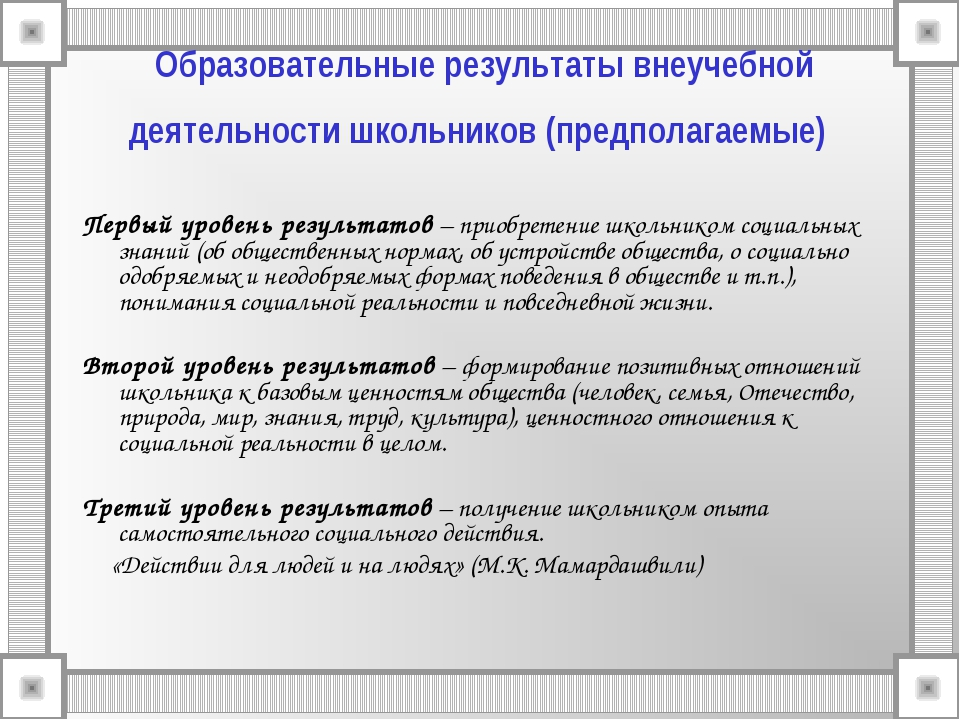 Образовательные результаты внеучебной деятельности школьников (предполагаемые...