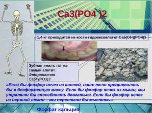 Ca3(PO4 )2 Фосфат кальция Зубная эмаль тот же самый апатит. Фторапатит Са5F(P