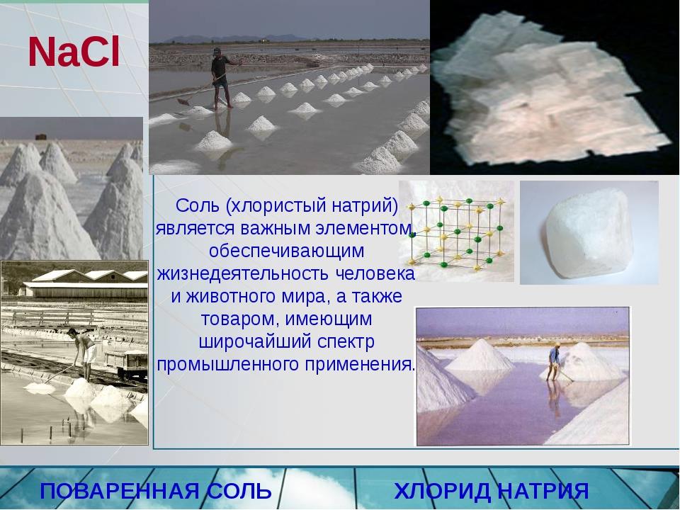 NаСl ПОВАРЕННАЯ СОЛЬ ХЛОРИД НАТРИЯ Соль (хлористый натрий) является важным эл...