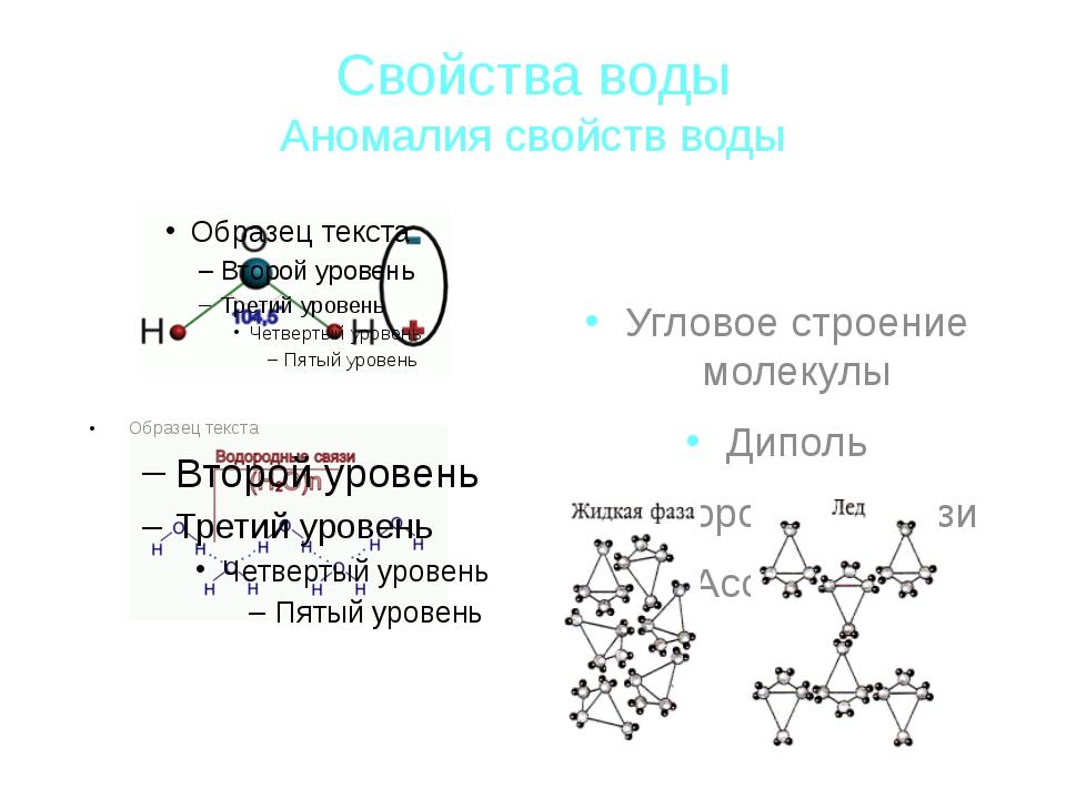 Свойства воды Аномалия свойств воды Угловое строение молекулы Диполь Водородн...