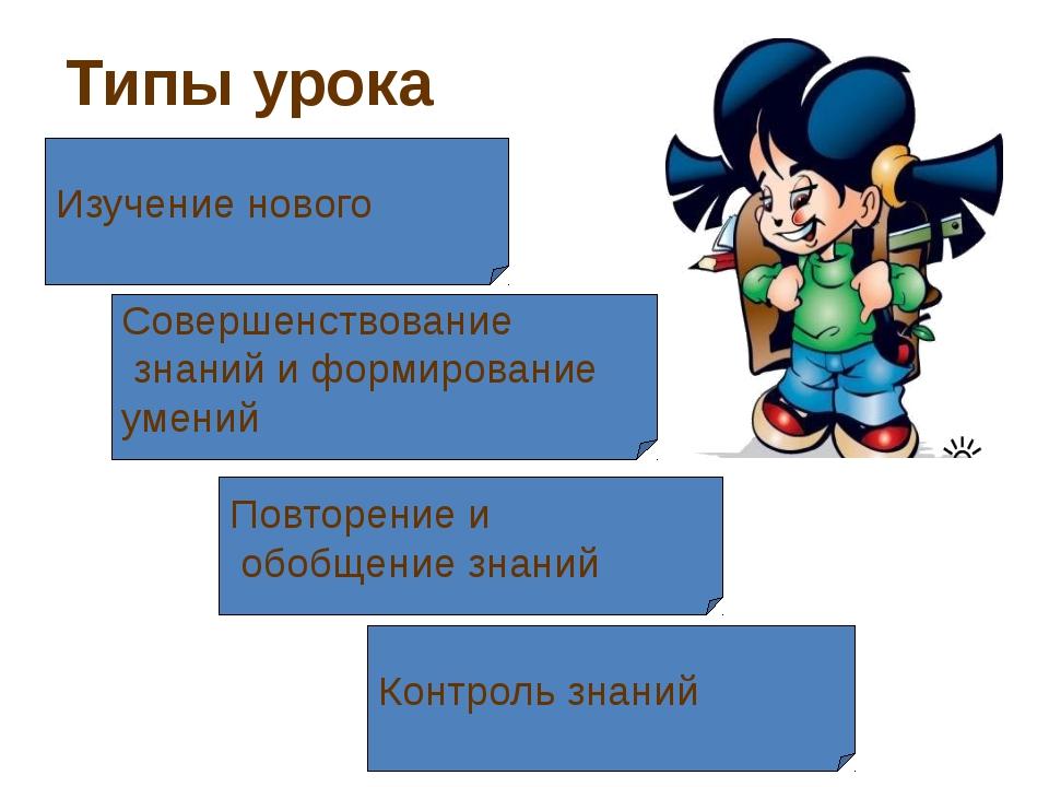 Типы урока Изучение нового Совершенствование знаний и формирование умений Пов...