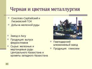 Черная и цветная металлургия Соколово-Сарбайский и Лисаковский ГОК Добыча жел
