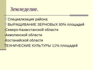 Земледелие. Специализация района: ВЫРАЩИВАНИЕ ЗЕРНОВЫХ 80% площадей -Северо-К