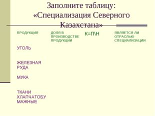 Заполните таблицу: «Специализация Северного Казахстана»