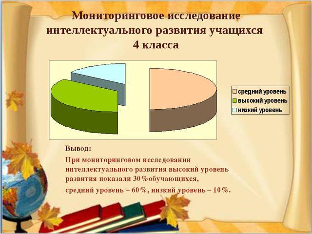 Мониторинговое исследование интеллектуального развития учащихся 4 класса Выво...