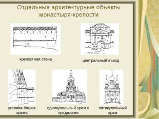 Отдельные архитектурные объекты монастыря-крепости крепостная стена центральн
