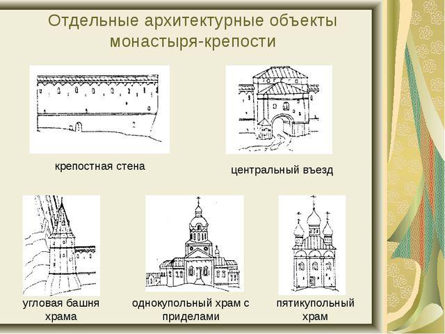 Отдельные архитектурные объекты монастыря-крепости крепостная стена центральн...
