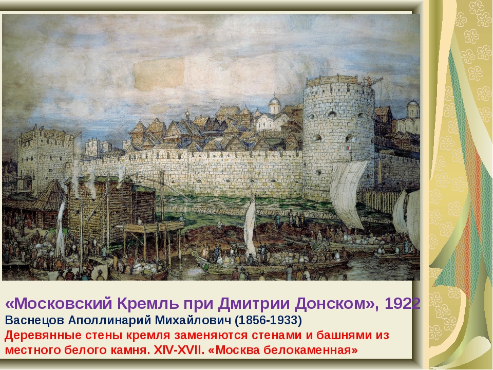 «Московский Кремль при Дмитрии Донском», 1922 Васнецов Аполлинарий Михайлович...