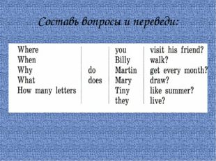 Составь вопросы и переведи: