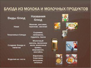 Виды блюд Названия блюд Каши Манная, рисовая, пшенная, овсяная Творожные блюд