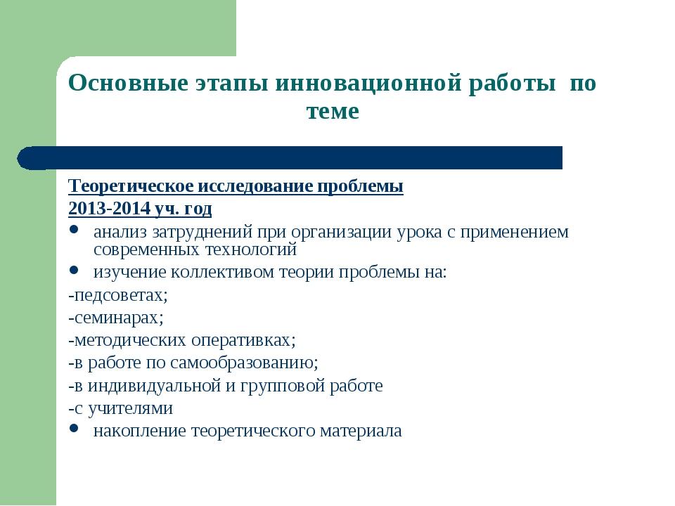 Основные этапы инновационной работы по теме Теоретическое исследование пробле...