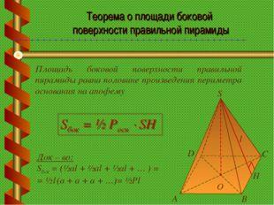 Теорема о площади боковой поверхности правильной пирамиды Площадь боковой пов