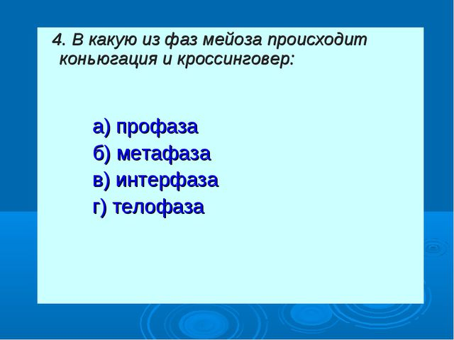 4. В какую из фаз мейоза происходит коньюгация и кроссинговер: а) профаза...