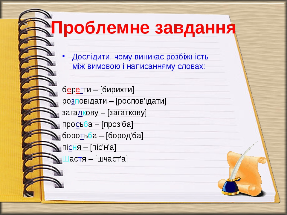 Проблемне завдання Дослідити, чому виникає розбіжність між вимовою і написанн...