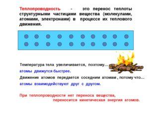 Теплопроводность - это перенос теплоты структурными частицами вещества (молек