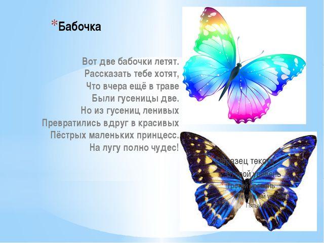 Бабочка Вот две бабочки летят. Рассказать тебе хотят, Что вчера ещё в траве Б...