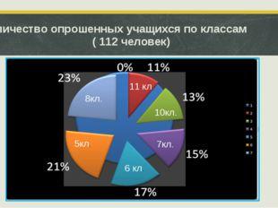 Количество опрошенных учащихся по классам ( 112 человек) 8кл. 5кл. 6 кл. 7кл.