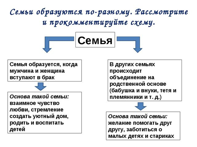Семьи образуются по-разному. Рассмотрите и прокомментируйте схему. Семья Семь...