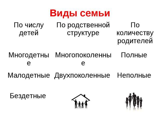 Виды семьи По числу детейПо родственной структуреПо количеству родителей Мн...