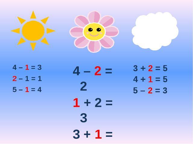 4 – 1 = 3 2 – 1 = 1 5 – 1 = 4 4 – 2 = 2 1 + 2 = 3 3 + 1 = 4 3 + 2 = 5 4 + 1 =...