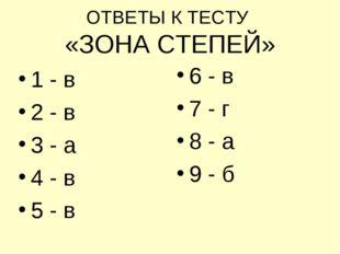 ОТВЕТЫ К ТЕСТУ «ЗОНА СТЕПЕЙ» 1 - в 2 - в 3 - а 4 - в 5 - в 6 - в 7 - г 8 - а