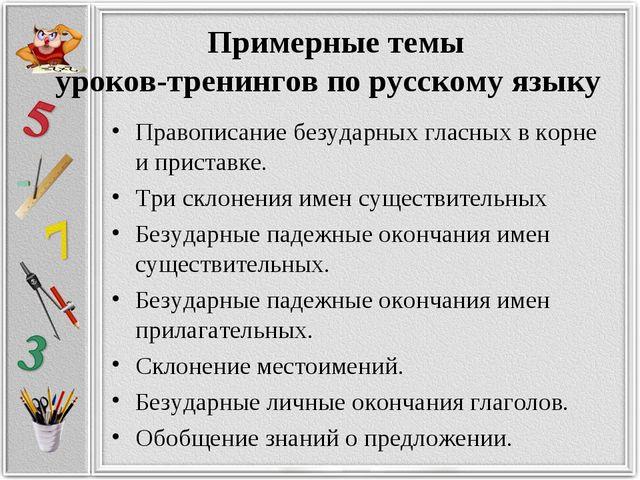 Примерные темы уроков-тренингов по русскому языку Правописание безударных гл...
