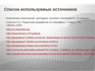 Список используемых источников Библиотека электронных наглядных пособий «Геог