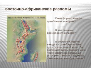 восточно-африканские разломы Какие формы рельефа преобладают в Африке? В